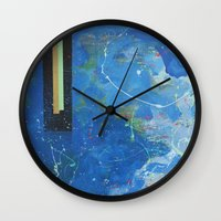 bar Wall Clocks featuring Gold Bar Green Bar by DANiELLE