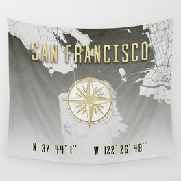 San Francisco - Vintage Map and Location Wall Tapestry