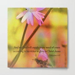 Philippians 4:19 Watercolor  Floral Metal Print