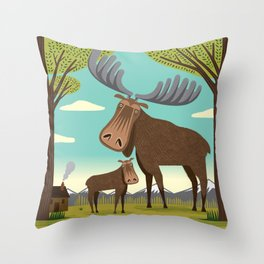 The Magnificent Moose Throw Pillow