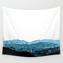 Powerlines in Japan - minimalist mountains Wall Tapestry