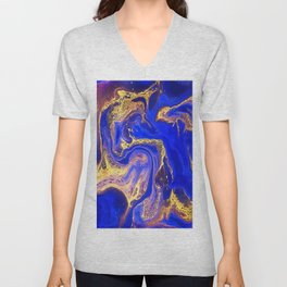 Marble gold and deep blue Unisex V-Neck