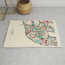 Colorful City Maps: Lisbon, Portugal Rug