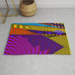 Fancy neon landscap with stylised violet mountains, sea and Sun. Rug
