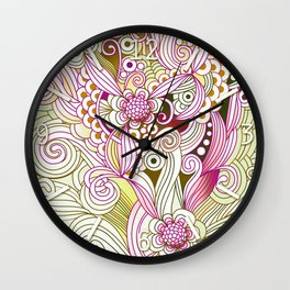 Flower fire | yellow, purple, green and ocre Wall Clock