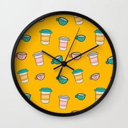Happy coffee cups and mugs in yellow background Wall Clock