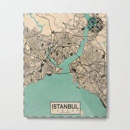 Istanbul City Map of Turkey - Vintage Metal Print
