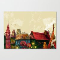 cities Canvas Prints featuring Cities by Elisa Gandolfo