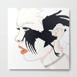 naked_black bird Metal Print