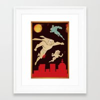 superheroes Framed Art Prints featuring Superheroes by Fat Knack