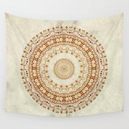 Mandala Desire in Golden Yellow Wall Tapestry