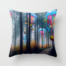 Forest of Super Electric Jellyfish Worlds Throw Pillow