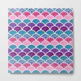 cute pink purple turquoise mermaid scales Metal Print