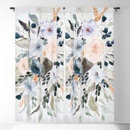 Loose Blue and Peach Floral Watercolor Bouquet  Blackout Curtain