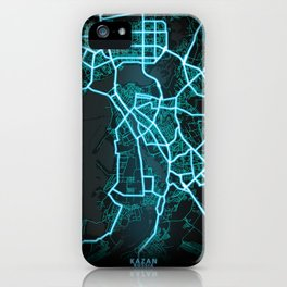 Kazan, Russia, Blue, White, Neon, Glow, City, Map iPhone Case