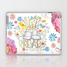 I Just Want To Read - White Floral Laptop & iPad Skin