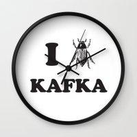 kafka Wall Clocks featuring Kafka by Ana Laya