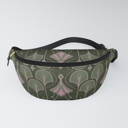 Paris - Green Art Deco Flower Leaves Pattern Fanny Pack