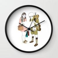 moonrise kingdom Wall Clocks featuring moonrise kingdom by joshuahillustration