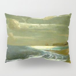 Moonlit Breaking Waves Along Dunes and Seashore with Lighthouse landscape painting by Julius Olsson Pillow Sham