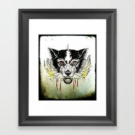 Space Cat King Fire Framed Art Print