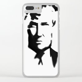 36- Donald Trump in black and white...with a frown... Clear iPhone Case