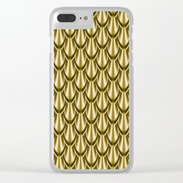 Golden Metallic Scales Pattern Clear iPhone Case