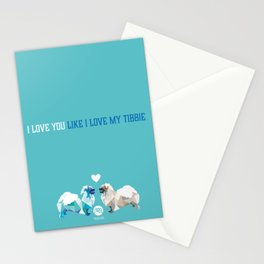 Polygon Tibetan Spaniel Love in Turquoise Stationery Cards