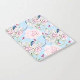 Bluebirds and Watercolor roses on pale blue with white French script Notebook