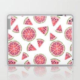 Modern pink green watercolor hand painted watermelon pattern Laptop & iPad Skin