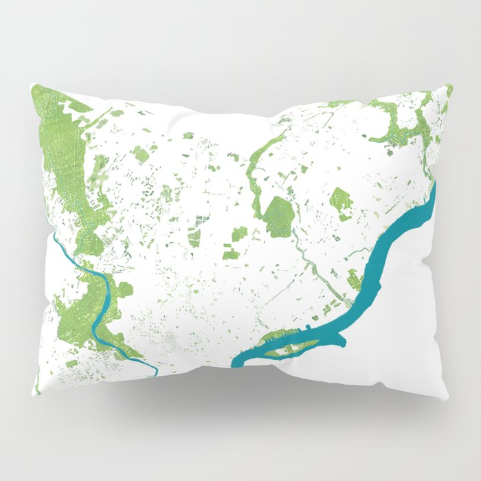 Philadelphia Map - Green Spaces Philly Parks Pillow Sham