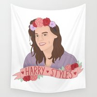 harry styles Wall Tapestries featuring Harry Styles ♥ by worksbeautifully