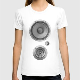 Subwoofer Speaker on white T-shirt
