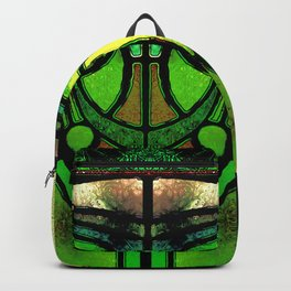 Green and Gold Stained Glass Victorian Design Backpack