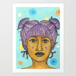 purple buns Art Print