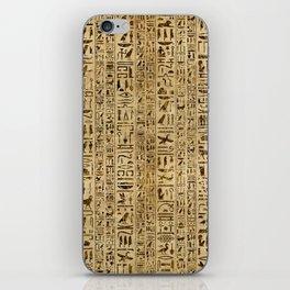 Egyptian hieroglyphs on papyrus iPhone Skin