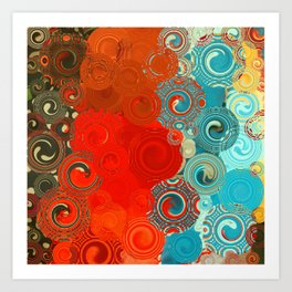 Turquoise and Red Swirls Art Print