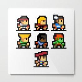 Minimalistic - Street Fighter - Pixel Art Metal Print