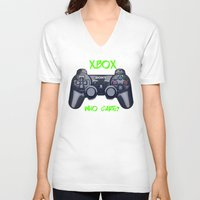 xbox V-neck T-shirts featuring Ps vs xbox by BAS~
