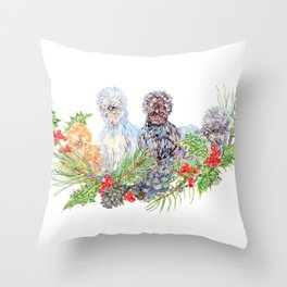 Silkie Chicken Huddle - Peck the halls!  Throw Pillow