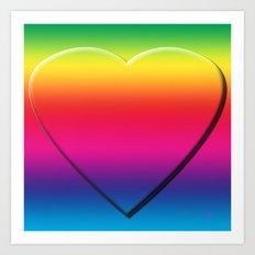 One Heart Rainbow Art Print