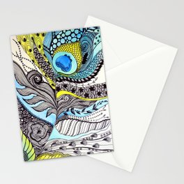 Peacock feather illustration wall art Stationery Cards