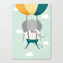 Elephant in flight Canvas Print