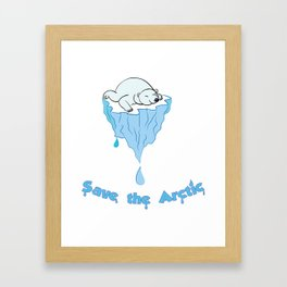 Save the Arctic bear Framed Art Print