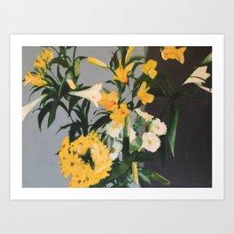 FLOWERS IN VASE (Richter homage) Art Print