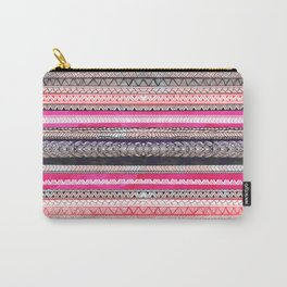 Bright pink orange watercolor handdrawn aztec pattern Carry-All Pouch