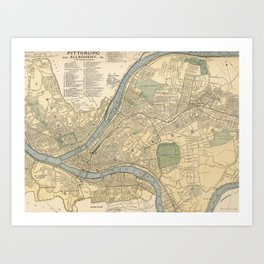 Vintage Map of Pittsburgh PA (1891) Art Print