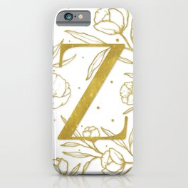 Letter Z Gold Monogram / Initial Botanical Illustration iPhone Case