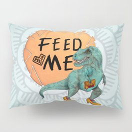 Hungry Date - Lady T-Rex in Teal Pillow Sham