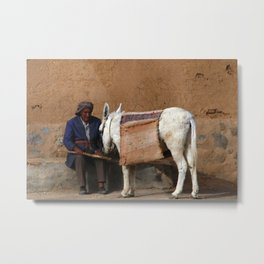 Portrait of Old Man and his Donkey, Kashan, Persia, Iran Metal Print